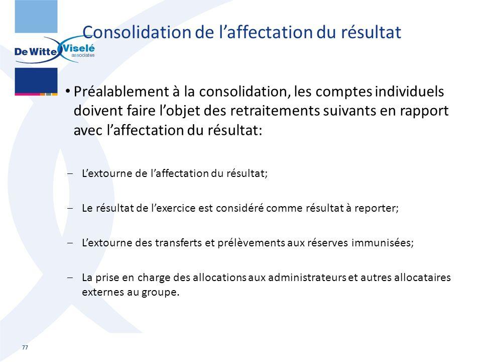 Consolidation de l'affectation du résultat Préalablement à la consolidation, les comptes individuels doivent faire l'objet des retraitements suivants