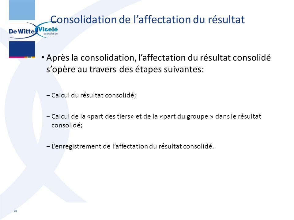 Consolidation de l'affectation du résultat Après la consolidation, l'affectation du résultat consolidé s'opère au travers des étapes suivantes: ‒Calcu