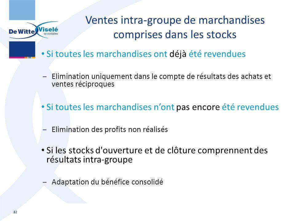 Ventes intra-groupe de marchandises comprises dans les stocks Si toutes les marchandises ont déjà été revendues ‒Elimination uniquement dans le compte