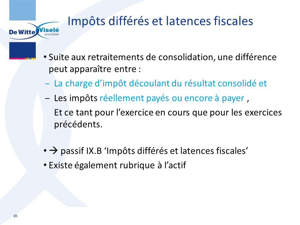 Impôts différés et latences fiscales Suite aux retraitements de consolidation, une différence peut apparaître entre : ‒La charge d'impôt découlant du