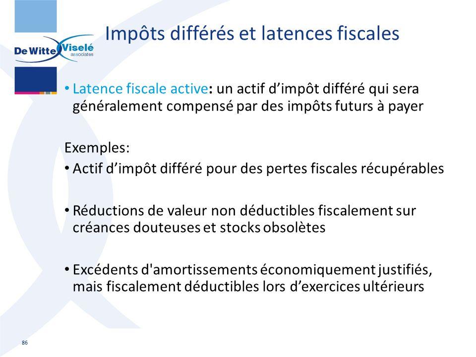 Impôts différés et latences fiscales Latence fiscale active: un actif d'impôt différé qui sera généralement compensé par des impôts futurs à payer Exe