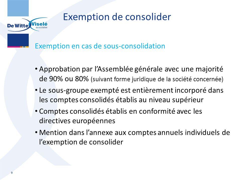 Exemption de consolider Exemption en cas de sous-consolidation Approbation par l'Assemblée générale avec une majorité de 90% ou 80% (suivant forme jur