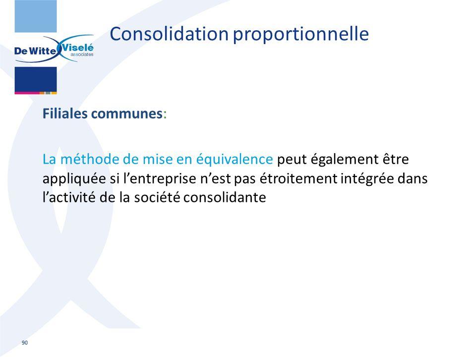 Consolidation proportionnelle Filiales communes: La méthode de mise en équivalence peut également être appliquée si l'entreprise n'est pas étroitement