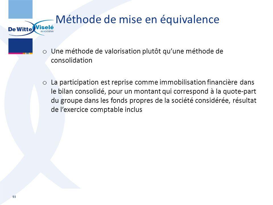 Méthode de mise en équivalence o Une méthode de valorisation plutôt qu'une méthode de consolidation o La participation est reprise comme immobilisatio