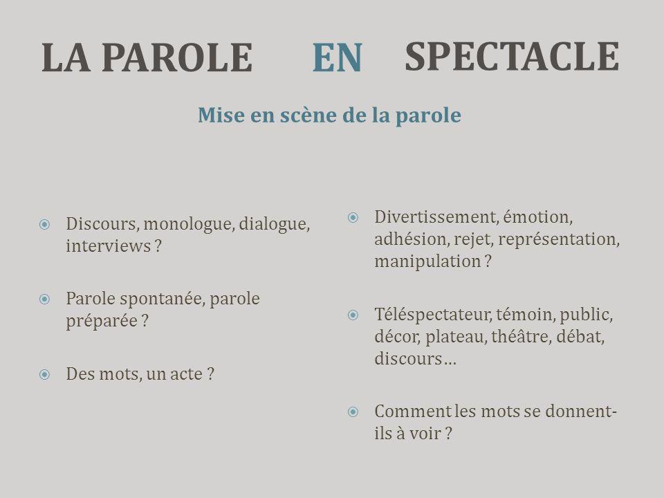 LA PAROLE Mise en scène de la parole  Discours, monologue, dialogue, interviews ?  Parole spontanée, parole préparée ?  Des mots, un acte ?  Diver