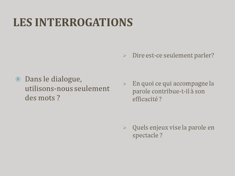 LES INTERROGATIONS  Dans le dialogue, utilisons-nous seulement des mots ?  Dire est-ce seulement parler?  En quoi ce qui accompagne la parole contr