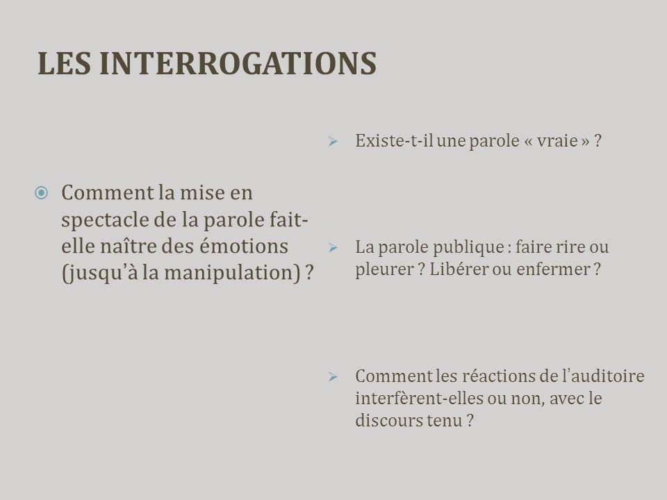 LES INTERROGATIONS  Comment la mise en spectacle de la parole fait- elle naître des émotions (jusqu'à la manipulation) ?  Existe-t-il une parole « v