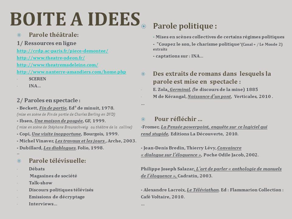 BOITE A IDEES  Parole théâtrale: 1/ Ressources en ligne http://crdp.ac-paris.fr/piece-demontee/ http://www.theatre-odeon.fr/ http://www.theatremadele