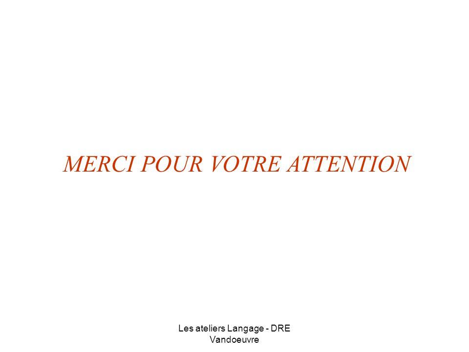 Les ateliers Langage - DRE Vandoeuvre MERCI POUR VOTRE ATTENTION