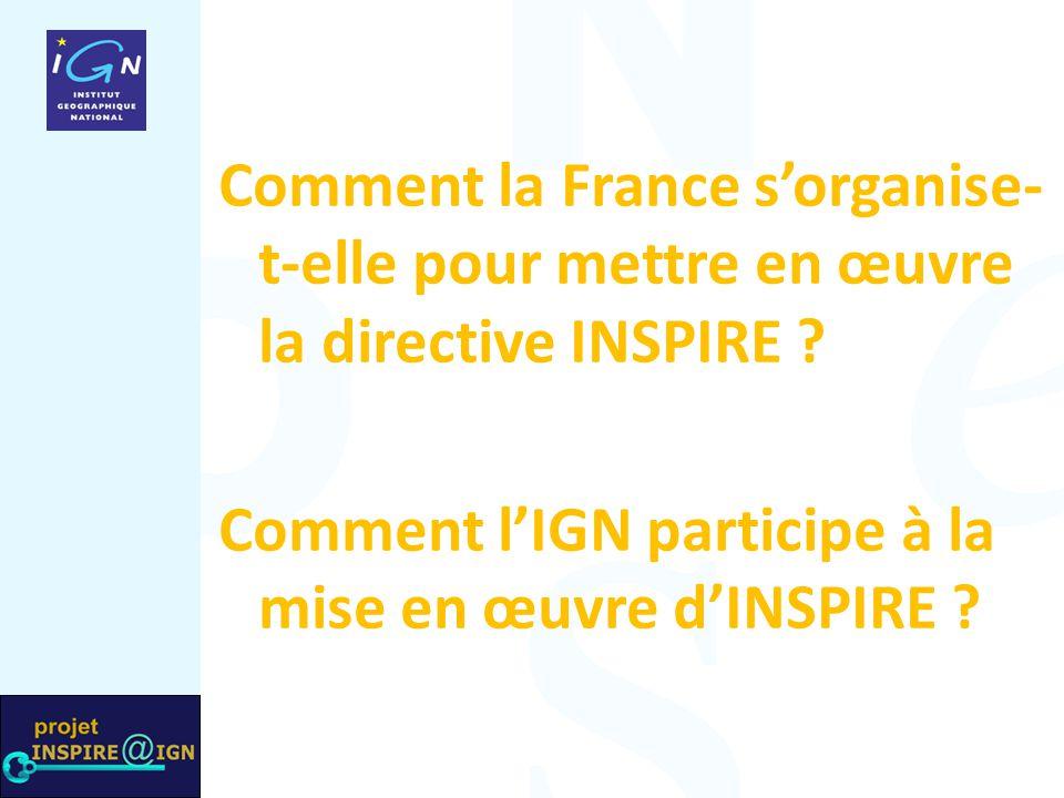 Comment la France s'organise- t-elle pour mettre en œuvre la directive INSPIRE ? Comment l'IGN participe à la mise en œuvre d'INSPIRE ?