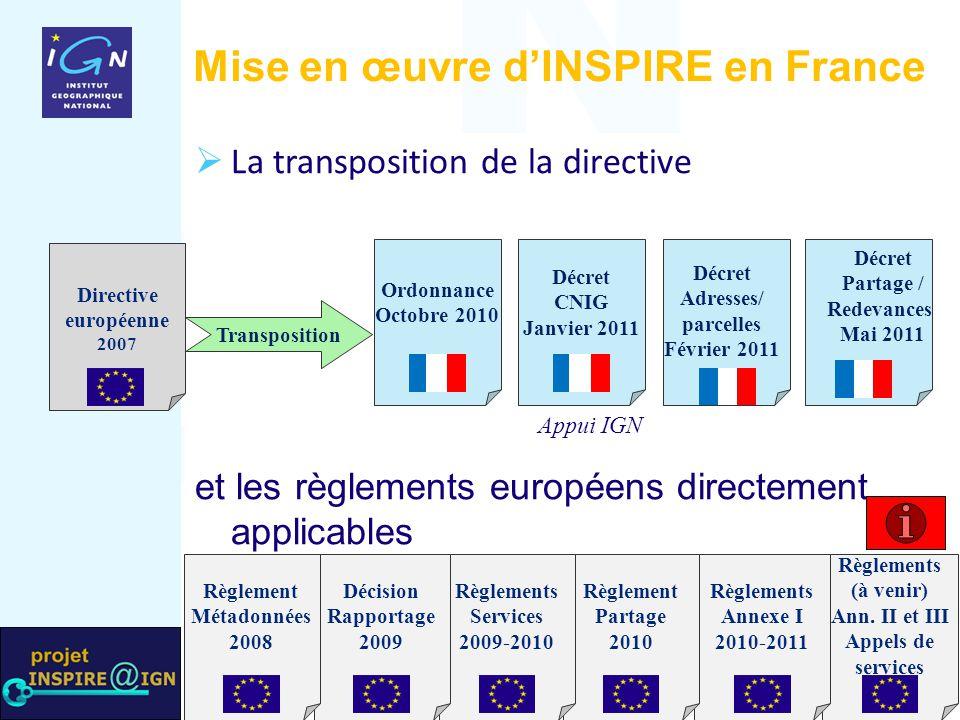  La transposition de la directive et les règlements européens directement applicables Mise en œuvre d'INSPIRE en France Transposition Ordonnance Octo