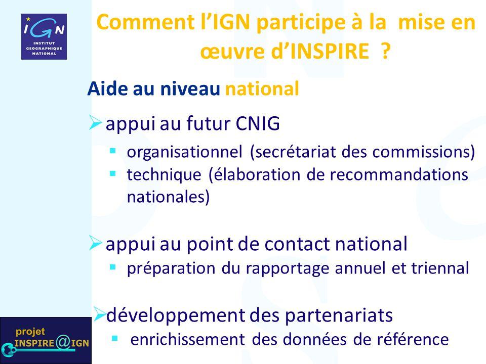 Comment l'IGN participe à la mise en œuvre d'INSPIRE ? Aide au niveau national  appui au futur CNIG  organisationnel (secrétariat des commissions) 