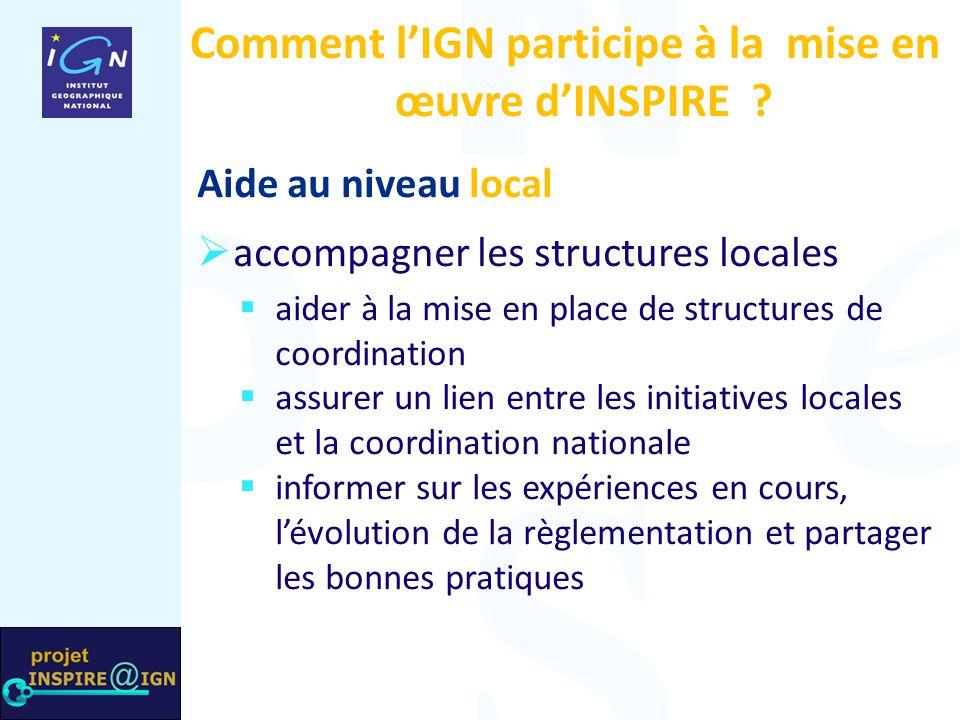 Comment l'IGN participe à la mise en œuvre d'INSPIRE ? Aide au niveau local  accompagner les structures locales  aider à la mise en place de structu