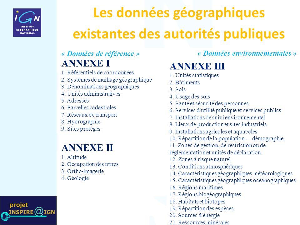 Les données géographiques existantes des autorités publiques ANNEXE III 1. Unités statistiques 2. Bâtiments 3. Sols 4. Usage des sols 5. Santé et sécu