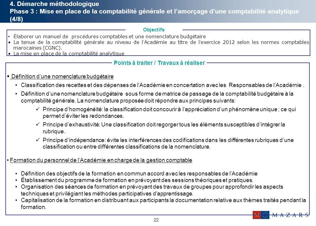 22  Définition d'une nomenclature budgétaire Classification des recettes et des dépenses de l'Académie en concertation avec les Responsables de l'Aca