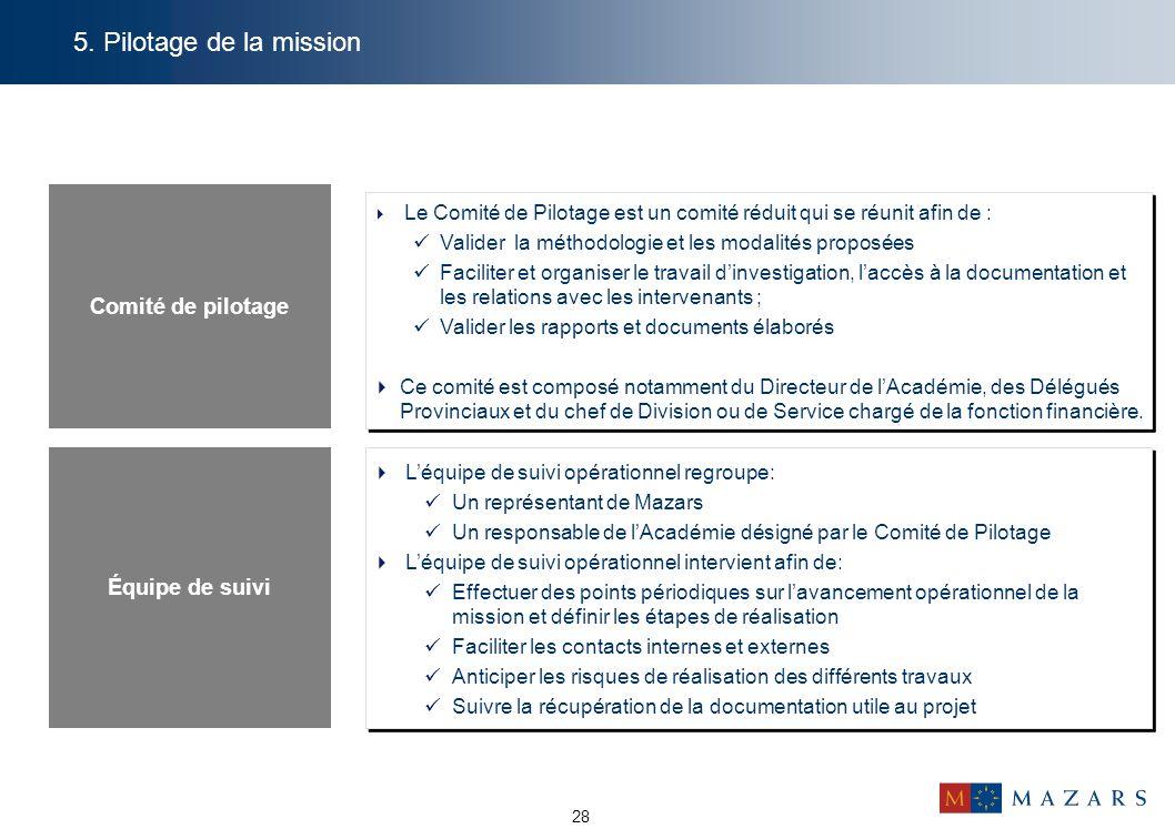 28 5. Pilotage de la mission Comité de pilotage  Le Comité de Pilotage est un comité réduit qui se réunit afin de : Valider la méthodologie et les mo