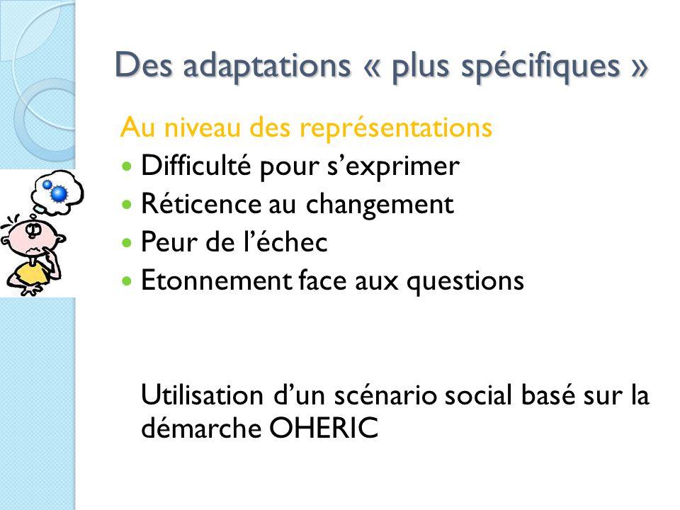 Des adaptations « plus spécifiques » Au niveau des représentations Difficulté pour s'exprimer Réticence au changement Peur de l'échec Etonnement face aux questions Utilisation d'un scénario social basé sur la démarche OHERIC