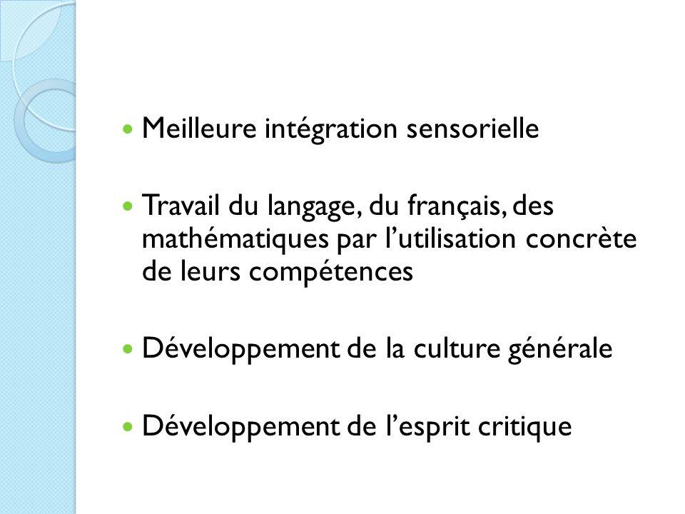 Meilleure intégration sensorielle Travail du langage, du français, des mathématiques par l'utilisation concrète de leurs compétences Développement de la culture générale Développement de l'esprit critique