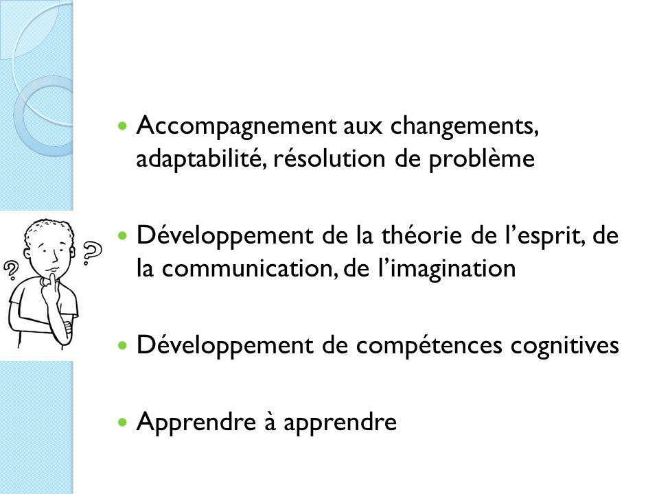 Accompagnement aux changements, adaptabilité, résolution de problème Développement de la théorie de l'esprit, de la communication, de l'imagination Développement de compétences cognitives Apprendre à apprendre