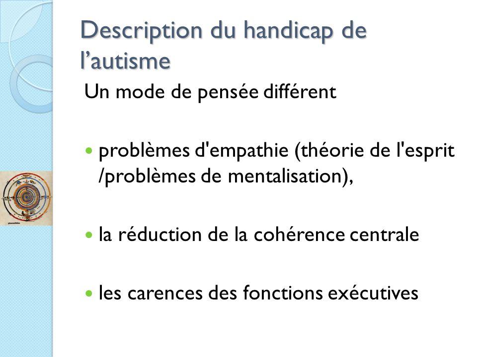 Description du handicap de l'autisme Un mode de pensée différent problèmes d empathie (théorie de l esprit /problèmes de mentalisation), la réduction de la cohérence centrale les carences des fonctions exécutives