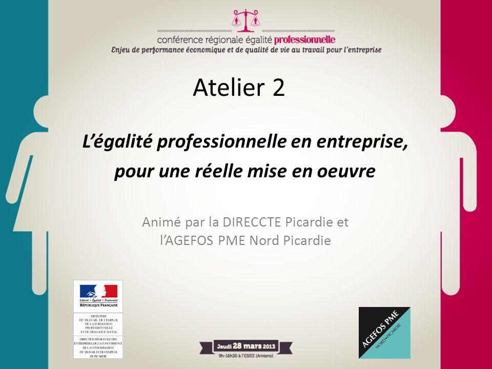 Atelier 2 L'égalité professionnelle en entreprise, pour une réelle mise en oeuvre Animé par la DIRECCTE Picardie et l'AGEFOS PME Nord Picardie