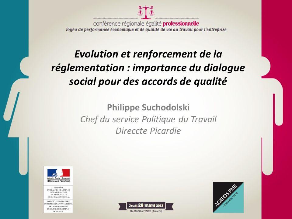 Evolution et renforcement de la réglementation : importance du dialogue social pour des accords de qualité Philippe Suchodolski Chef du service Politi