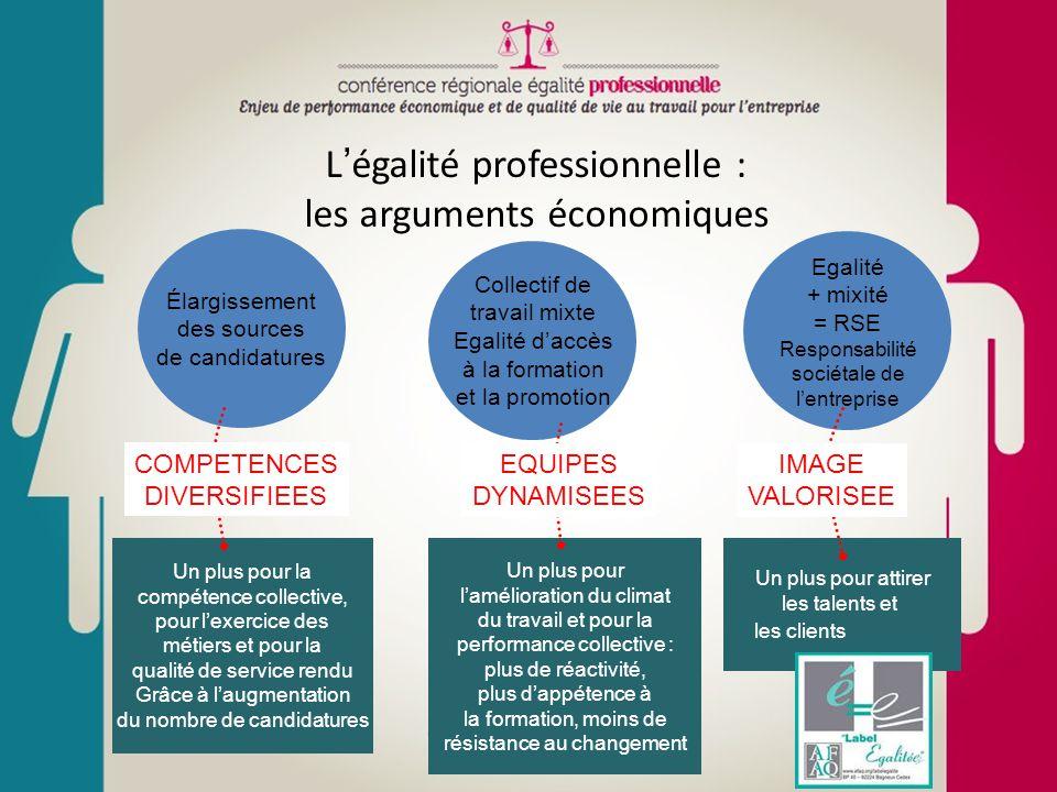 L'égalité professionnelle : les arguments économiques Élargissement des sources de candidatures Collectif de travail mixte Egalité d'accès à la format