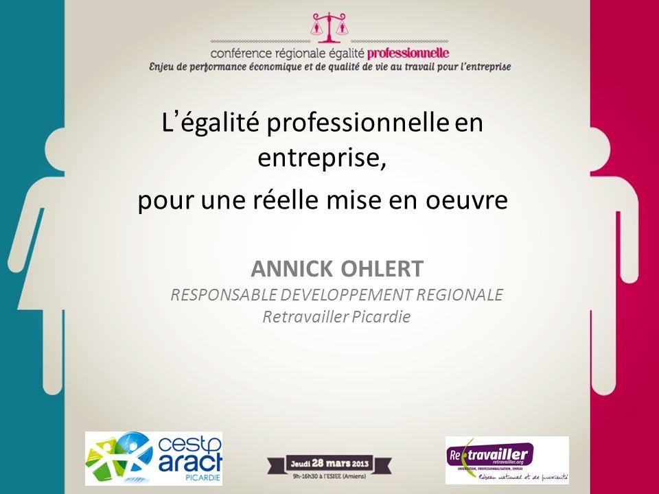 L'égalité professionnelle en entreprise, pour une réelle mise en oeuvre ANNICK OHLERT RESPONSABLE DEVELOPPEMENT REGIONALE Retravailler Picardie