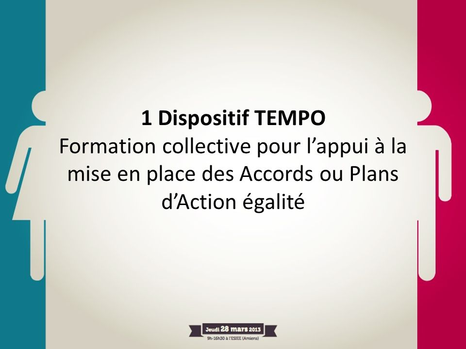 1 Dispositif TEMPO Formation collective pour l'appui à la mise en place des Accords ou Plans d'Action égalité