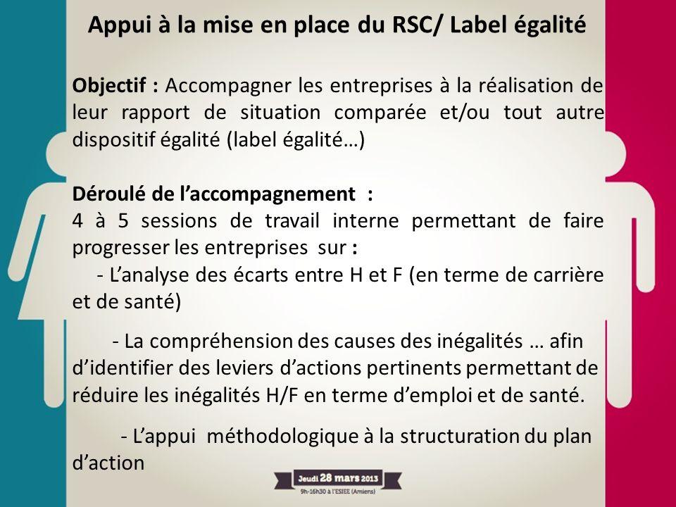 Objectif : Accompagner les entreprises à la réalisation de leur rapport de situation comparée et/ou tout autre dispositif égalité (label égalité…) Dér