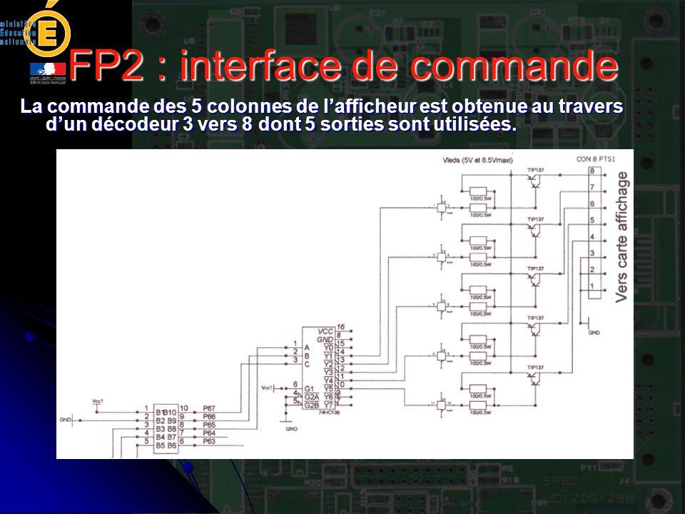 FP2 : interface de commande La commande des 5 colonnes de l'afficheur est obtenue au travers d'un décodeur 3 vers 8 dont 5 sorties sont utilisées.