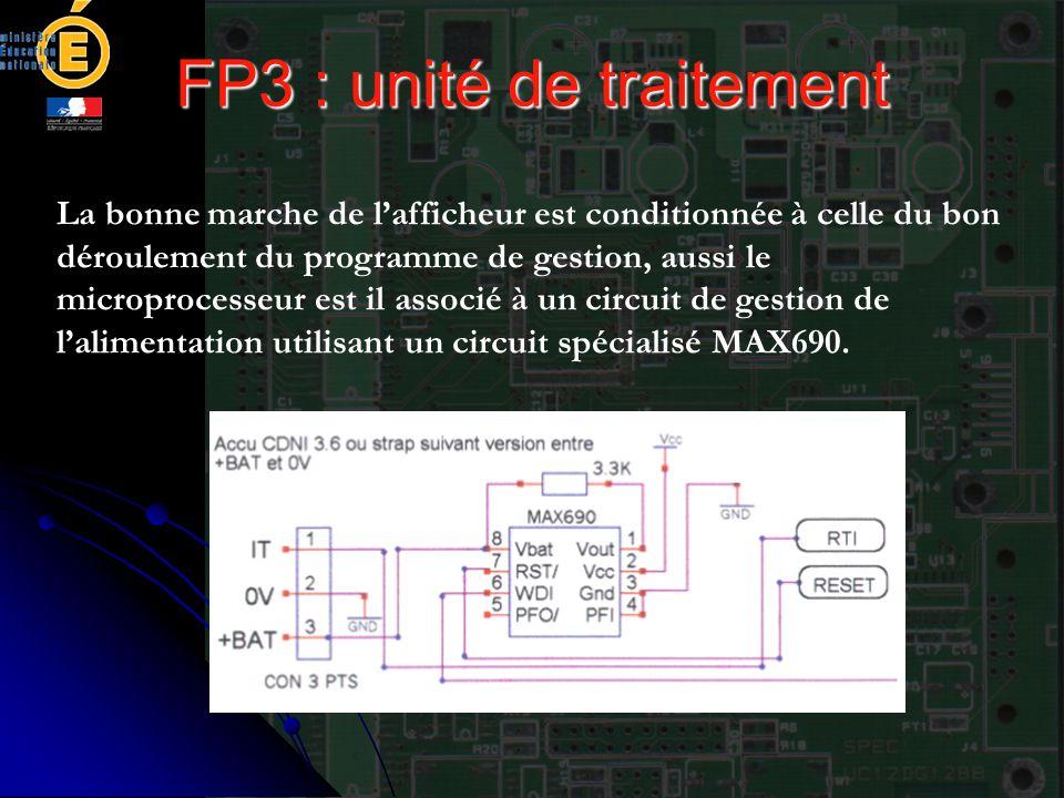 FP3 : unité de traitement La bonne marche de l'afficheur est conditionnée à celle du bon déroulement du programme de gestion, aussi le microprocesseur