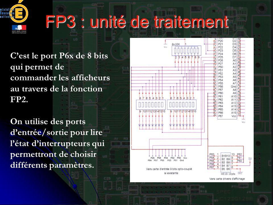 FP3 : unité de traitement C'est le port P6x de 8 bits qui permet de commander les afficheurs au travers de la fonction FP2. On utilise des ports d'ent