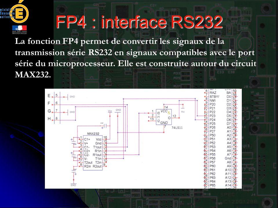 FP4 : interface RS232 La fonction FP4 permet de convertir les signaux de la transmission série RS232 en signaux compatibles avec le port série du micr
