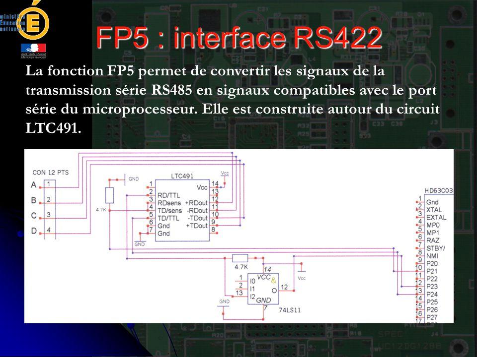 FP5 : interface RS422 La fonction FP5 permet de convertir les signaux de la transmission série RS485 en signaux compatibles avec le port série du micr