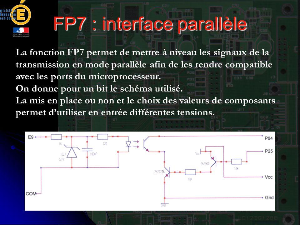 FP7 : interface parallèle La fonction FP7 permet de mettre à niveau les signaux de la transmission en mode parallèle afin de les rendre compatible ave