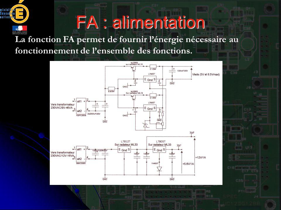 FA : alimentation La fonction FA permet de fournir l'énergie nécessaire au fonctionnement de l'ensemble des fonctions.