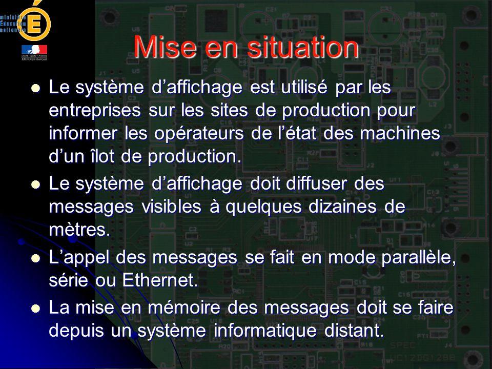 Mise en situation Le système d'affichage est utilisé par les entreprises sur les sites de production pour informer les opérateurs de l'état des machin