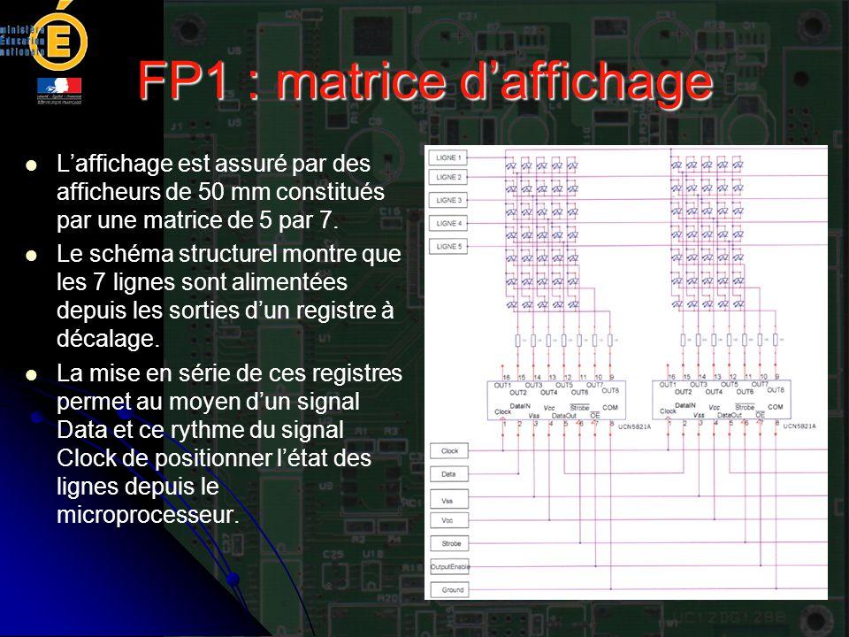 FP1 : matrice d'affichage L'affichage est assuré par des afficheurs de 50 mm constitués par une matrice de 5 par 7. Le schéma structurel montre que le