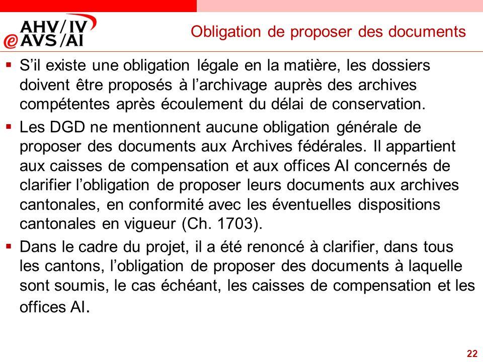 22 Obligation de proposer des documents  S'il existe une obligation légale en la matière, les dossiers doivent être proposés à l'archivage auprès des