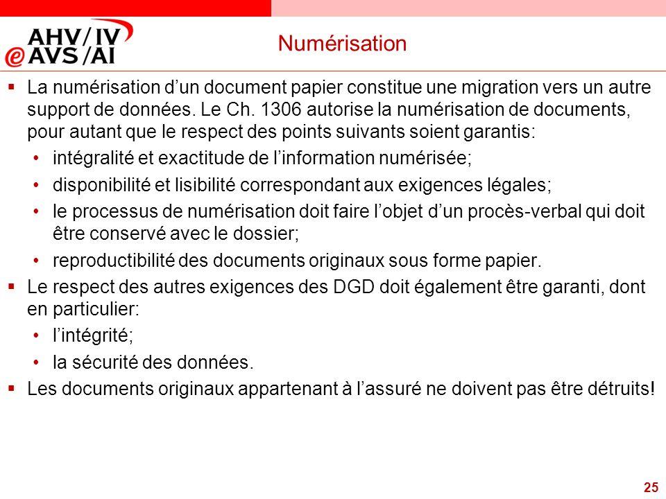 25 Numérisation  La numérisation d'un document papier constitue une migration vers un autre support de données. Le Ch. 1306 autorise la numérisation