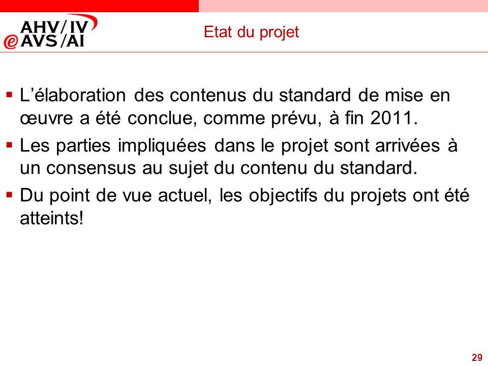 29 Etat du projet  L'élaboration des contenus du standard de mise en œuvre a été conclue, comme prévu, à fin 2011.  Les parties impliquées dans le p