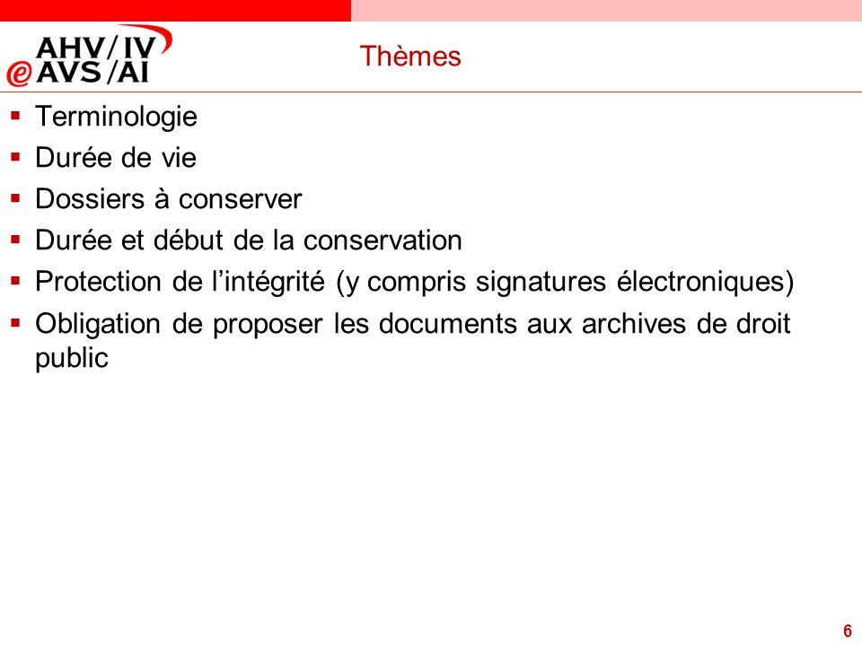 6 Thèmes  Terminologie  Durée de vie  Dossiers à conserver  Durée et début de la conservation  Protection de l'intégrité (y compris signatures él