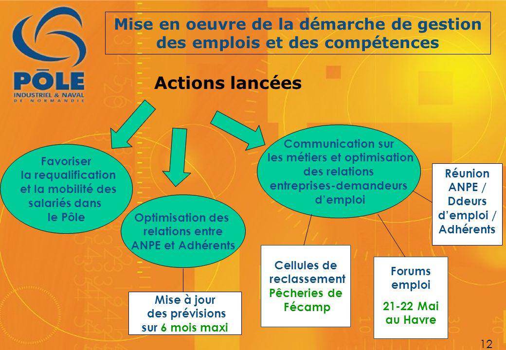 Mise en oeuvre de la démarche de gestion des emplois et des compétences 12 Actions lancées Favoriser la requalification et la mobilité des salariés da