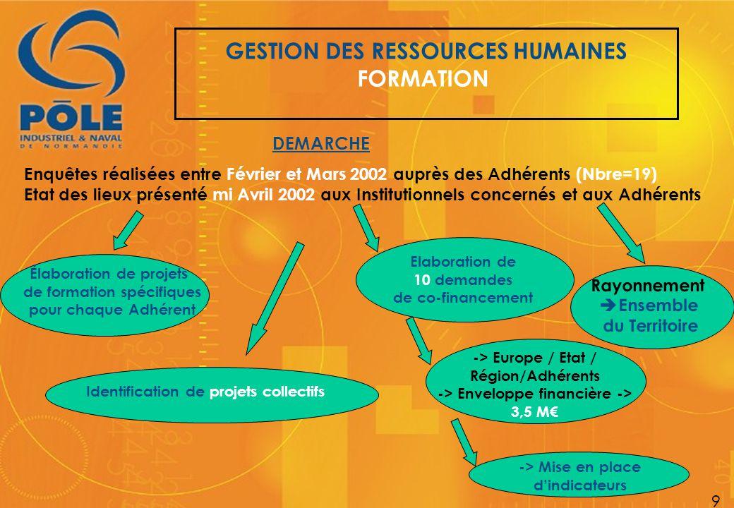 GESTION DES RESSOURCES HUMAINES FORMATION 9 DEMARCHE Enquêtes réalisées entre Février et Mars 2002 auprès des Adhérents (Nbre=19) Etat des lieux prése