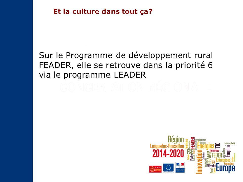 Sur le Programme de développement rural FEADER, elle se retrouve dans la priorité 6 via le programme LEADER Et la culture dans tout ça