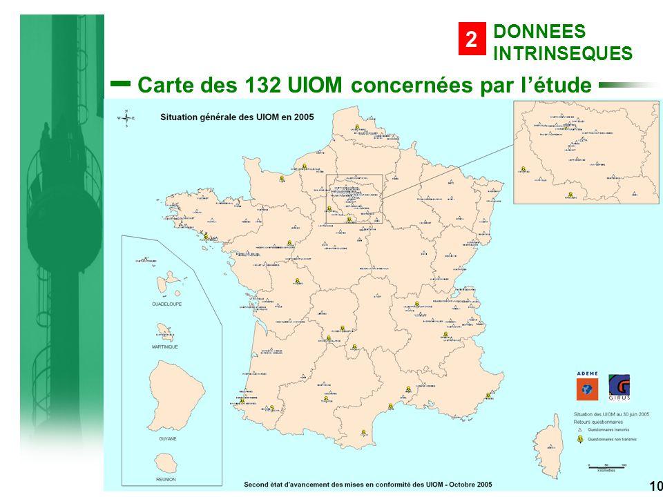 Carte des 132 UIOM concernées par l'étude DONNEES INTRINSEQUES 2 10