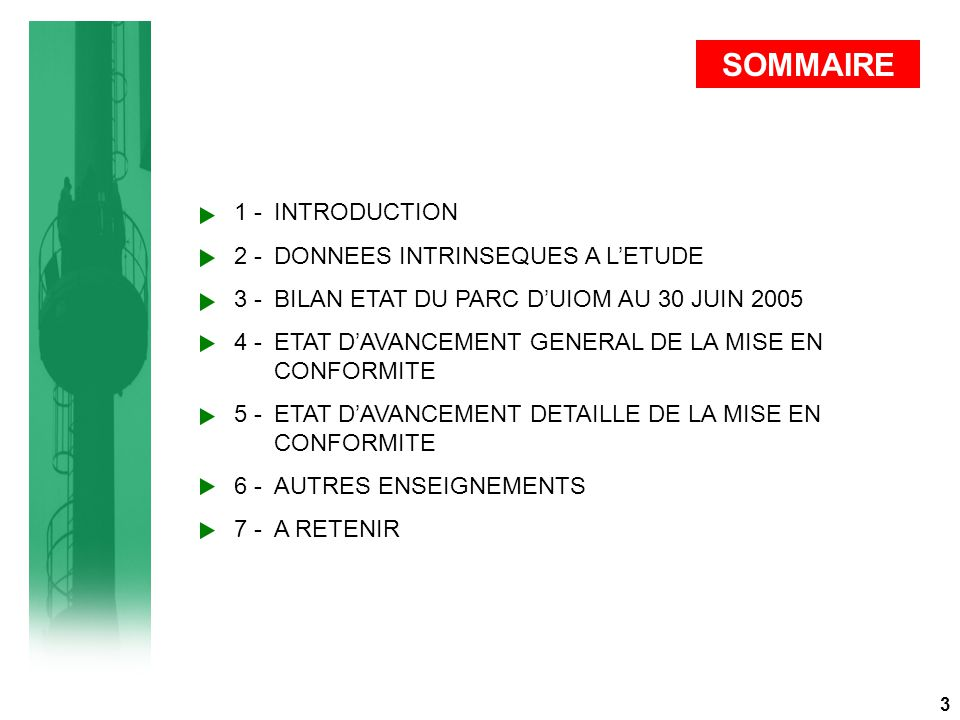 SOMMAIRE 1 - INTRODUCTION 2 - DONNEES INTRINSEQUES A L'ETUDE 3 - BILAN ETAT DU PARC D'UIOM AU 30 JUIN 2005 4 - ETAT D'AVANCEMENT GENERAL DE LA MISE EN CONFORMITE 5 - ETAT D'AVANCEMENT DETAILLE DE LA MISE EN CONFORMITE 6 - AUTRES ENSEIGNEMENTS 7 - A RETENIR 3