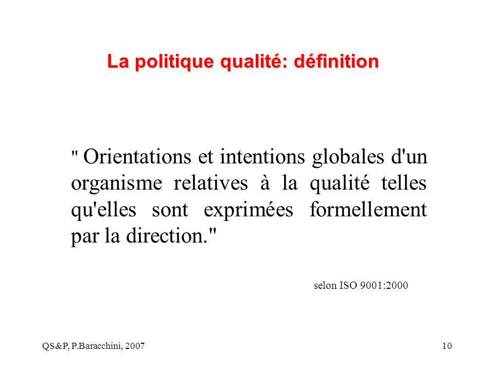 QS&P, P.Baracchini, 200710 La politique qualité: définition