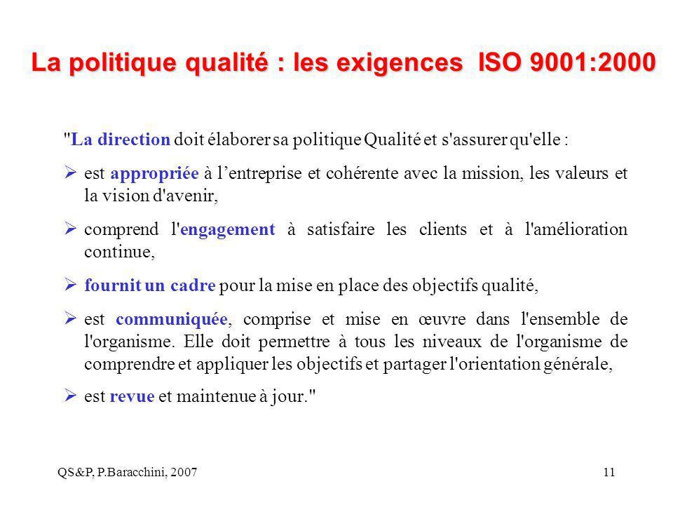 QS&P, P.Baracchini, 200711 La politique qualité : les exigences ISO 9001:2000